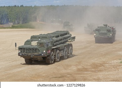 MILITARY GROUND ALABINO, MOSCOW OBLAST, RUSSIA - AUG 22, 2018: The BM-30 Smerch is a Russian heavy multiple rocket launcher at the International military-technical forum ARMY-2018
