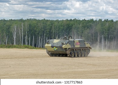 """MILITARY GROUND ALABINO, MOSCOW OBLAST, RUSSIA - AUG 22, 2018: The multipurpose airborne armored personnel carrier BTR-MDM """"Rakushka"""" at the International military-technical forum ARMY-2018"""