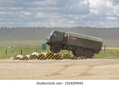 MILITARY GROUND ALABINO, MOSCOW OBLAST, RUSSIA - AUG 22, 2018: The military truck KAMAZ-5350 at the International military-technical forum ARMY-2018