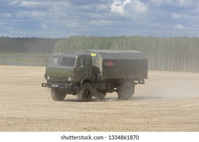 MILITARY GROUND ALABINO, MOSCOW OBLAST, RUSSIA - AUG 22, 2018: The military truck KAMAZ-4350 at the International military-technical forum ARMY-2018