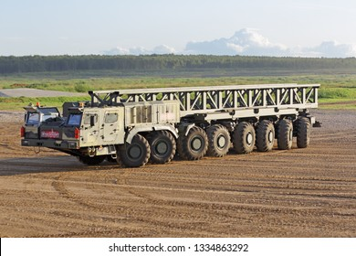 """MILITARY GROUND ALABINO, MOSCOW OBLAST, RUSSIA - AUG 21, 2018: The multi-axle wheeled chassis KAMAZ-7850 from the family """"Platforma-O"""" at the International military-technical forum ARMY-2018"""