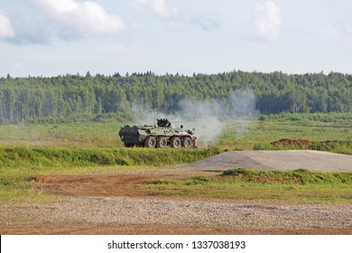 MILITARY GROUND ALABINO, MOSCOW OBLAST, RUSSIA - AUG 21, 2018: Armored personnel carrier BTR-82 at the International military-technical forum ARMY-2018
