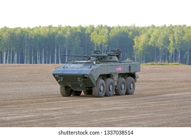 MILITARY GROUND ALABINO, MOSCOW OBLAST, RUSSIA - AUG 21, 2018: The Bumerang is an amphibious wheeled armored personnel carrier at the International military-technical forum ARMY-2018