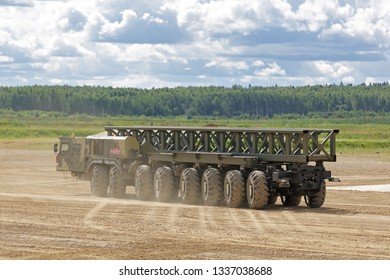 """MILITARY GROUND ALABINO, MOSCOW OBLAST, RUSSIA - AUG 22, 2018: The multi-axle wheeled chassis KAMAZ-7850 from the family """"Platforma-O"""" at the International military-technical forum ARMY-2018"""