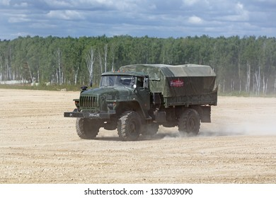 MILITARY GROUND ALABINO, MOSCOW OBLAST, RUSSIA - AUG 22, 2018: The demonstration of the capabilities of a military truck Ural-43206 at the International military-technical forum ARMY-2018