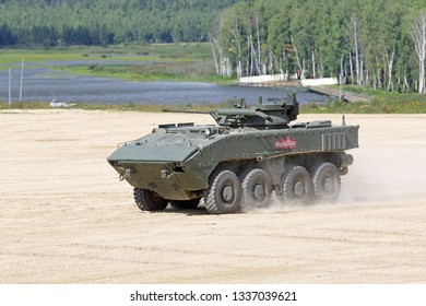 MILITARY GROUND ALABINO, MOSCOW OBLAST, RUSSIA - AUG 22, 2018: The Bumerang is an amphibious wheeled armored personnel carrier at the International military-technical forum ARMY-2018