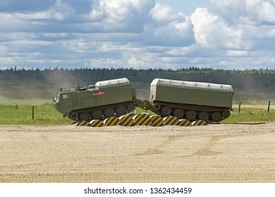 MILITARY GROUND ALABINO, MOSCOW OBLAST, RUSSIA - AUG 22, 2018: The two-tier tracked all-terrain amphibian vehicle DT-30P Vityaz at the International military-technical forum ARMY-2018