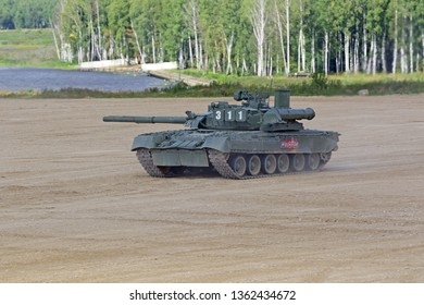 MILITARY GROUND ALABINO, MOSCOW OBLAST, RUSSIA - AUG 22, 2018: The T-80 Russian main battle tank at the International military-technical forum ARMY-2018