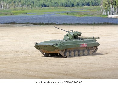 MILITARY GROUND ALABINO, MOSCOW OBLAST, RUSSIA - AUG 22, 2018: The BMP-1AM is a modernized, amphibious infantry fighting vehicle at the International military-technical forum ARMY-2018