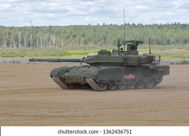 MILITARY GROUND ALABINO, MOSCOW OBLAST, RUSSIA - AUG 22, 2018: The T-90MS is a third-generation export version of the Russian main battle tank at the International military-technical forum ARMY-2018
