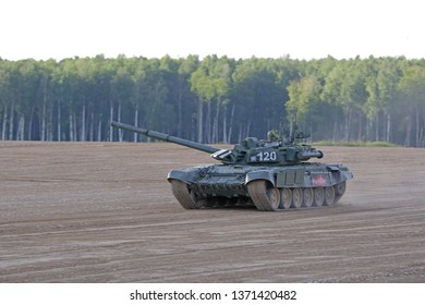 MILITARY GROUND ALABINO, MOSCOW OBLAST, RUSSIA - AUG 21, 2018: The T-90 Russian main battle tank at the International military-technical forum ARMY-2018