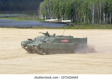 MILITARY GROUND ALABINO, MOSCOW OBLAST, RUSSIA - AUG 22, 2018: Combat vehicle of flamethrower operators (BMO-T) at the International military-technical forum Army-2018
