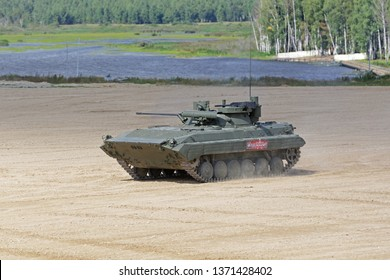 MILITARY GROUND ALABINO, MOSCOW OBLAST, RUSSIA - AUG 22, 2018: The BMP-2 is a russian modernized, amphibious infantry fighting vehicle at the International military-technical forum ARMY-2018