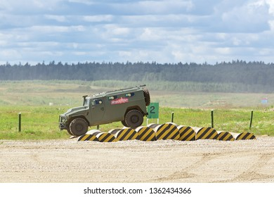 MILITARY GROUND ALABINO, MOSCOW REGION, RUSSIA - AUG 22, 2018: The Russian 4x4, multipurpose, all-terrain infantry mobility vehicle GAZ Tigr at the International military-technical forum ARMY-2018
