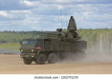 MILITARY GROUND ALABINO, RUSSIA - AUG 22, 2018: Pantsir-S1 (SA-22 Greyhound) is a combined surface-to-air missile and anti-aircraft artillery at the International military-technical forum ARMY-2018