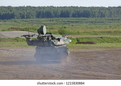 MILITARY GROUND ALABINO, RUSSIA - AUG 21, 2018: ZSU-23-4 Shilka is a Soviet self-propelled, radar guided anti-aircraft weapon system (SPAAG) at the International military-technical forum ARMY-2018