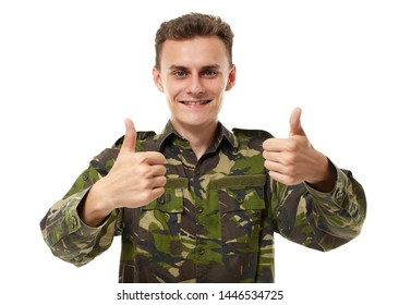 Military guy showing double thumbs up sign