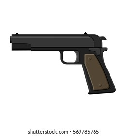 Military handgun icon in cartoon style isolated on white background. Military and army symbol stock bitmap, rastr illustration