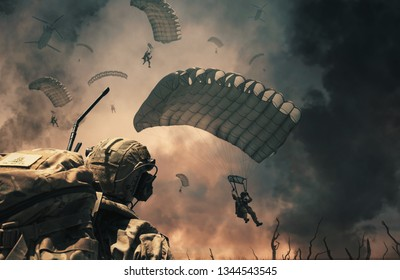 Military helicopter and forces between fire and smoke in destroyed city and soldiers are in flight with a parachute to reach battlefield/A soldier looks at them.