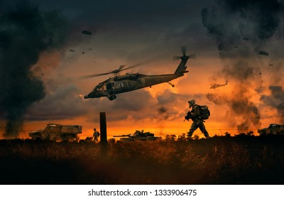 Military helicopter, forces and machines in the farm to reach city center at sunset