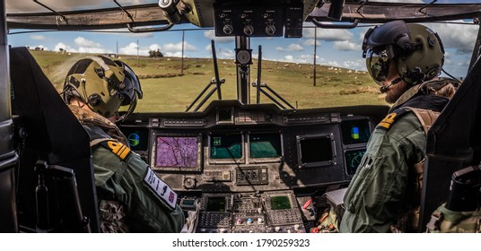 Military Helicopter Merlin EH101 cockpit on a training mission.