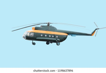 Military helicopter mi-8 isolated on a white background