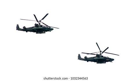 military helicopters fly
