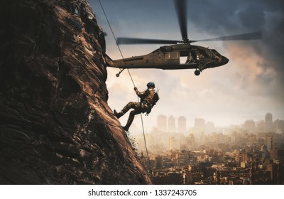 Military helicopters and forces roping in destroyed city.