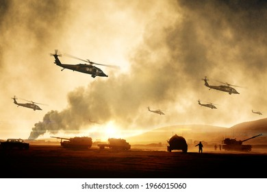 Military helicopters and tanks in desert at war