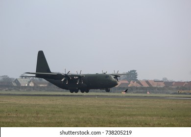 A military Hercules aircraft often used for transporting troops and special forces.