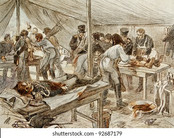 """Military hospital. Illustration by artist A.P. Apsit from book """"Leo Tolstoy """"War and peace"""", publisher - """"Partnership Sytin"""", Moscow, Russia, 1914."""