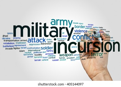 Military incursion concept word cloud background