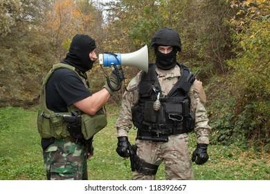 military instructor yells at novice, hard training, communication