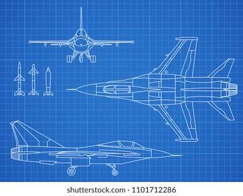 Military jet aircraft drawing blueprint design. Aircraft military plan blueprint illustration