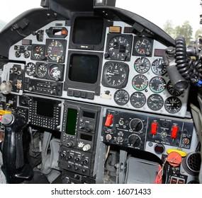 Military jetfighter cockpit control panel