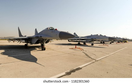 Military jets on airport tarmac