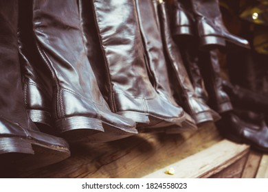 Military leather boots at the fair