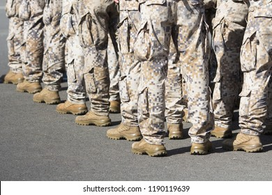 Military men during parade or exercise