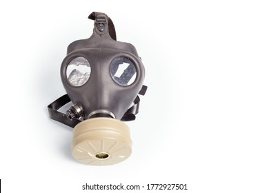 Military model gas protection mask, on white background