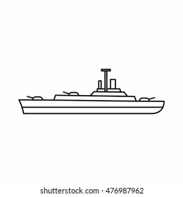 Military navy ship icon in outline style on a white background