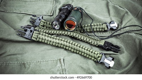 Military paracord bracelet, tactical torch and spy-glass
