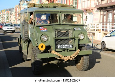 Military parade in Mers-les-Bains, France, 08-30-2019, historic Chevrolet truck of Second World War