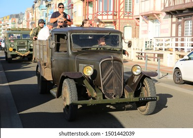 Military parade in Mers-les-Bains, France, historic Citroen truck, 08-30-2019