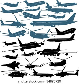 Military and passenger airliners, helicopters