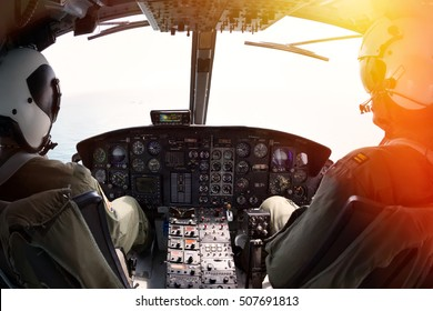 Military pilot soldier on helicopter