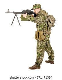 military, profession, people and war concept - male soldier in camouflage with a rifle on a white wall