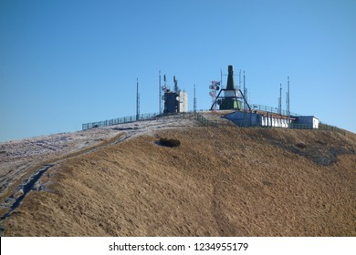 Military radar base at the top of the mountain