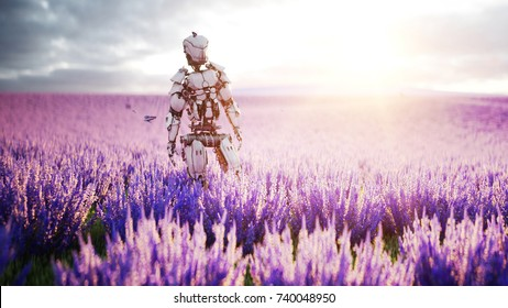 Military robot, cyborg with gun in lavender field. concept of the future. 3d rendering.