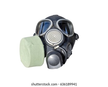 Military rubber elastic gas masks isolated on white background.