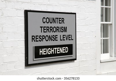 Military security notice counter terrorism heightened at Portsmouth dockyard entrance UK